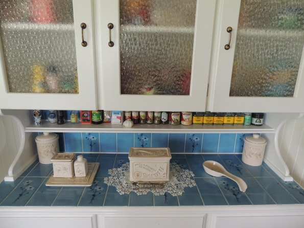 A close-up of the glass and old tiles - they came up a treat!